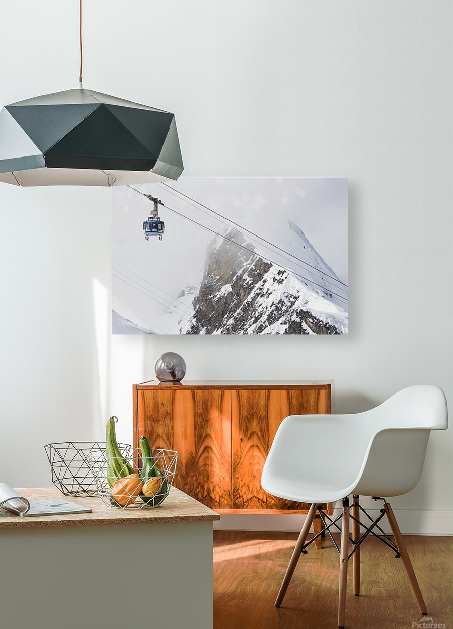 Scenic view of the Titlis Rotair revolving circular tram at Engelberg Resort in Switzerland  HD Metal print with Floating Frame on Back