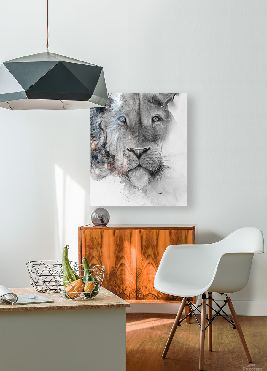 Illustration of a lion's face and a mottled background  HD Metal print with Floating Frame on Back