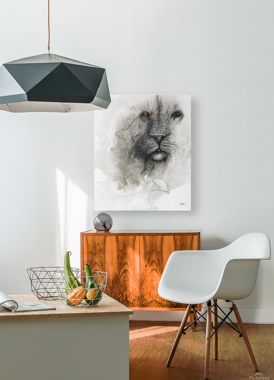 Illustration of a lion's face on a white background  HD Metal print with Floating Frame on Back