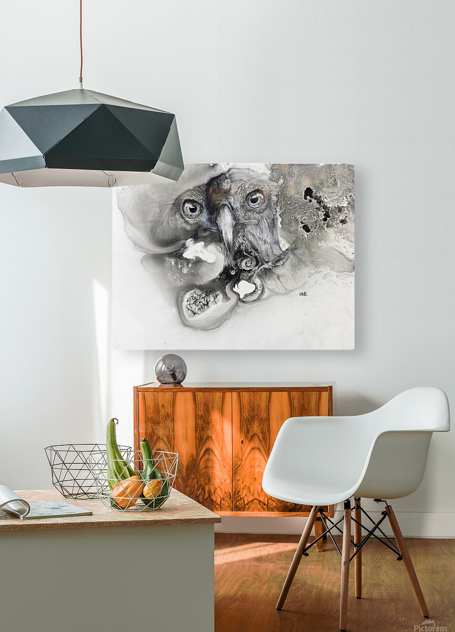 Illustration of a bird's face surrounded by mottled textures and abstract  HD Metal print with Floating Frame on Back