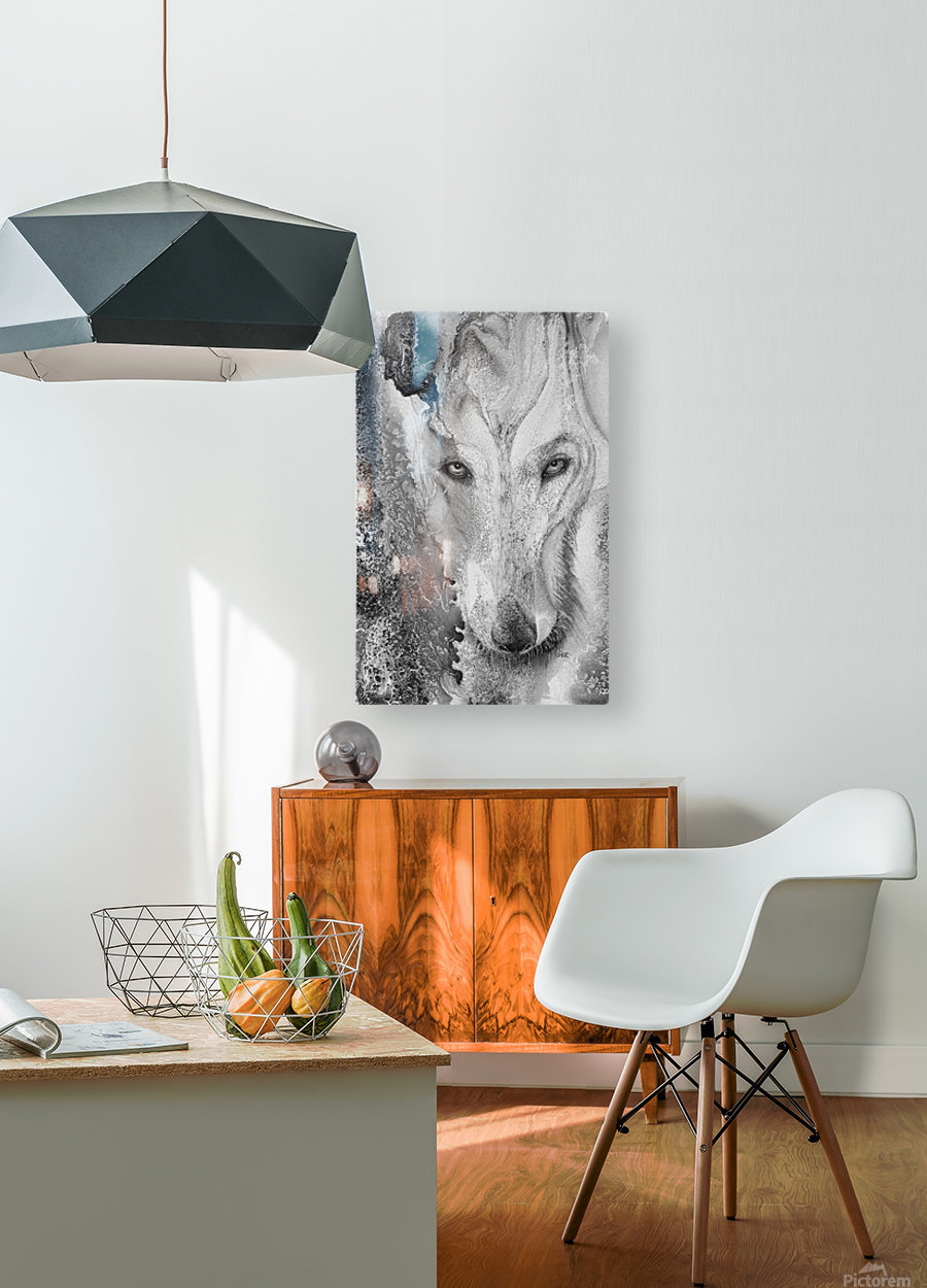 Illustration of a wolf and a mottled background  HD Metal print with Floating Frame on Back