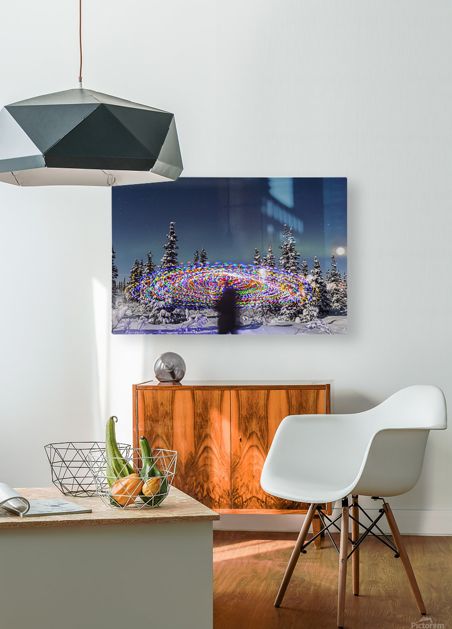The Aurora Borealis dances over the top of a vibrant spiral light painting, the blurry figure of a man in the middle of the light painting, moonlight casting shadows on snow covered spruce trees on a clear winter night, interior Alaska; Gakona, Alaska, Un  HD Metal print with Floating Frame on Back