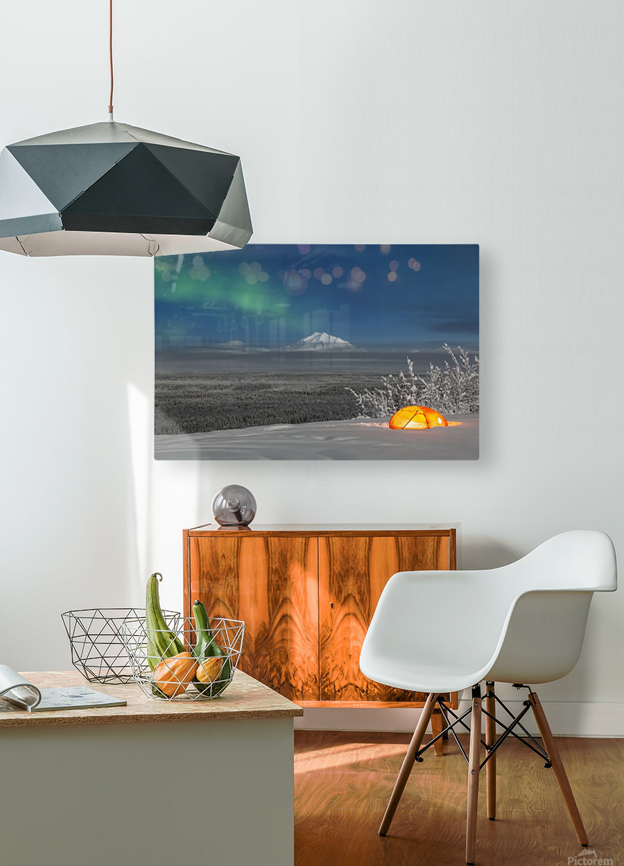 Green Aurora Borealis shines above moonlight casting light on Mount Drum and the Copper River Valley, a glowing tent on a foggy winter night, Copper River Valley, South-central Alaska; Alaska, United States of America  HD Metal print with Floating Frame on Back