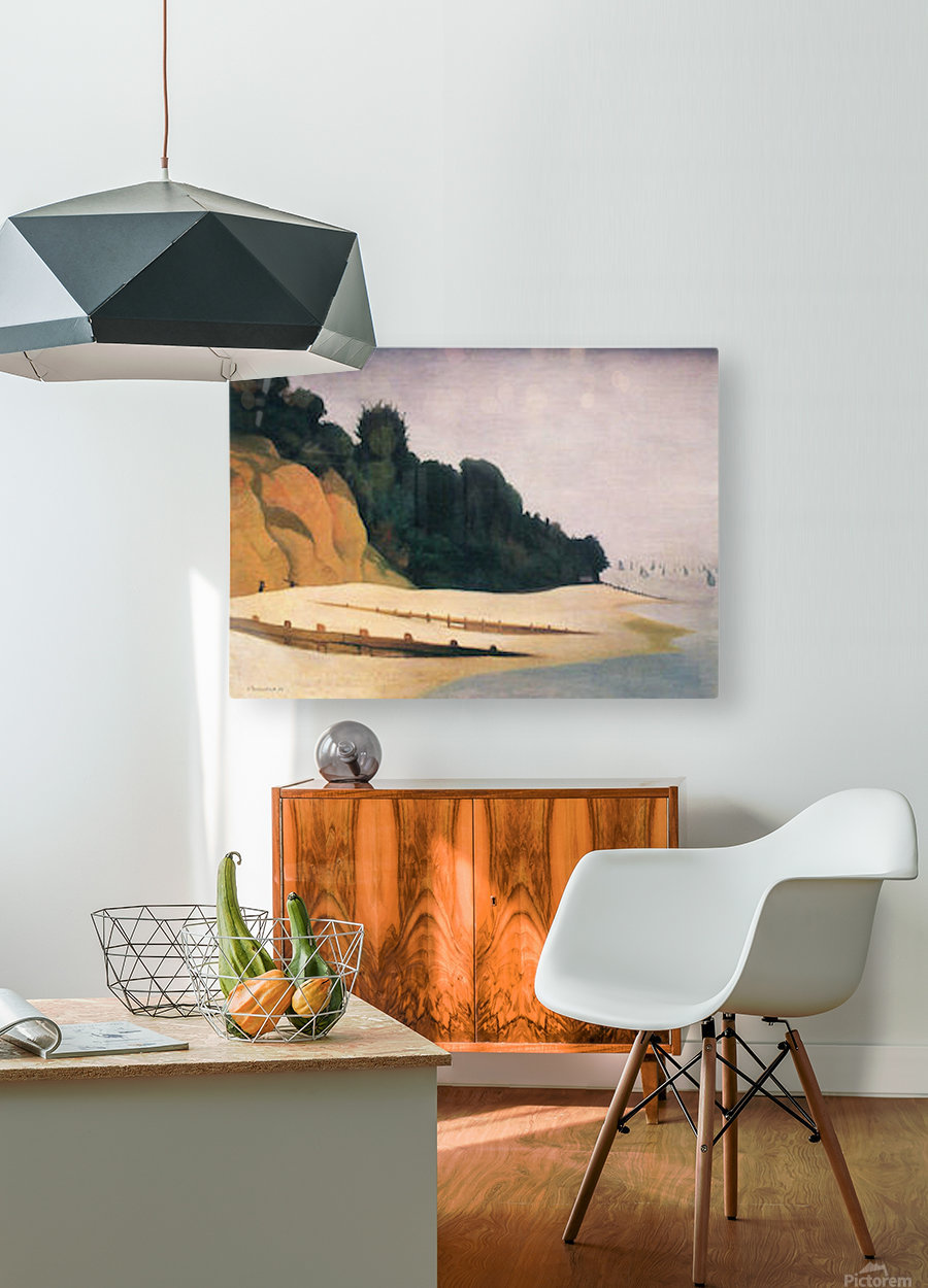 Shore scene with tree silhouette by Felix Vallotton  HD Metal print with Floating Frame on Back