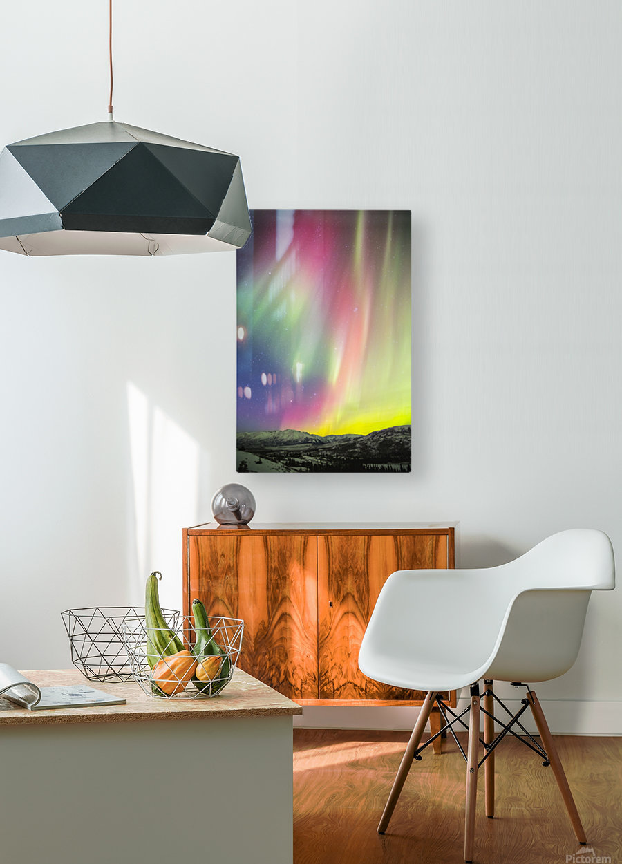 A colourful aurora display over Granite Mountain, south of Delta Junction; Alaska, United States of America  HD Metal print with Floating Frame on Back
