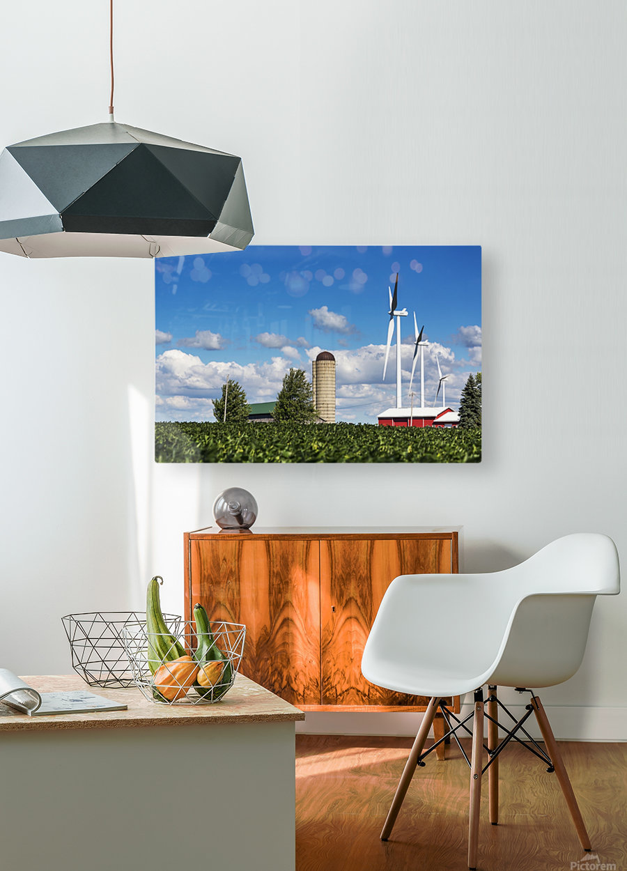 Large metal windmills in a farm yard with red barn and silo, soy bean field in the foreground and blue sky and clouds in the background; Ontario, Canada  HD Metal print with Floating Frame on Back