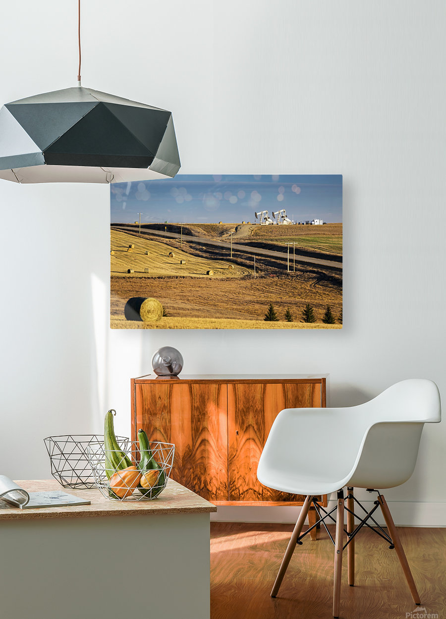 Two pump jacks on rolling hills in the distance along highway with cut fields and hay bales; Alberta, Canada  HD Metal print with Floating Frame on Back