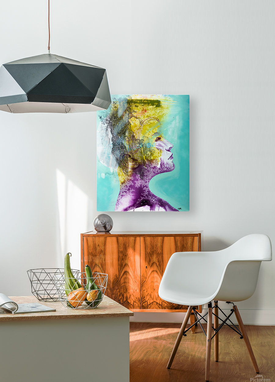 Illustration of a woman's head with colourful abstract patterns emerging from the back of the head  HD Metal print with Floating Frame on Back