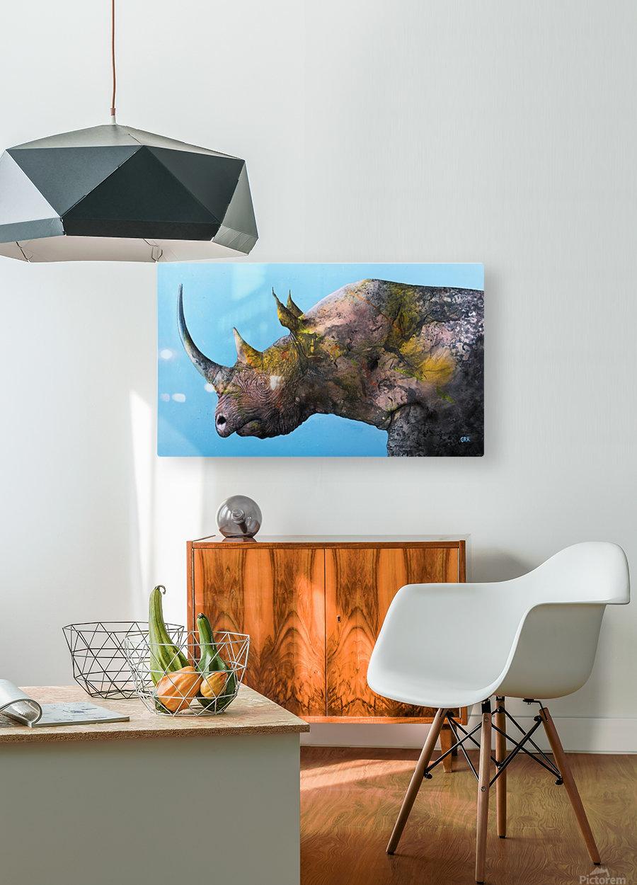Illustration of a white rhinoceros against a blue background  Impression métal HD avec cadre flottant sur le dos