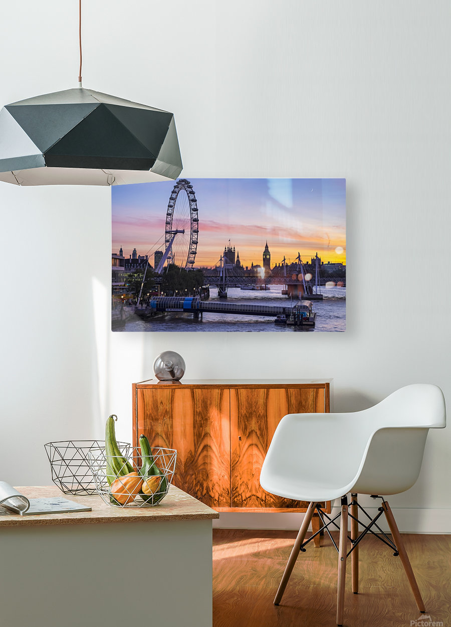 Millennium Wheel and skyline at sunset; London, England  HD Metal print with Floating Frame on Back