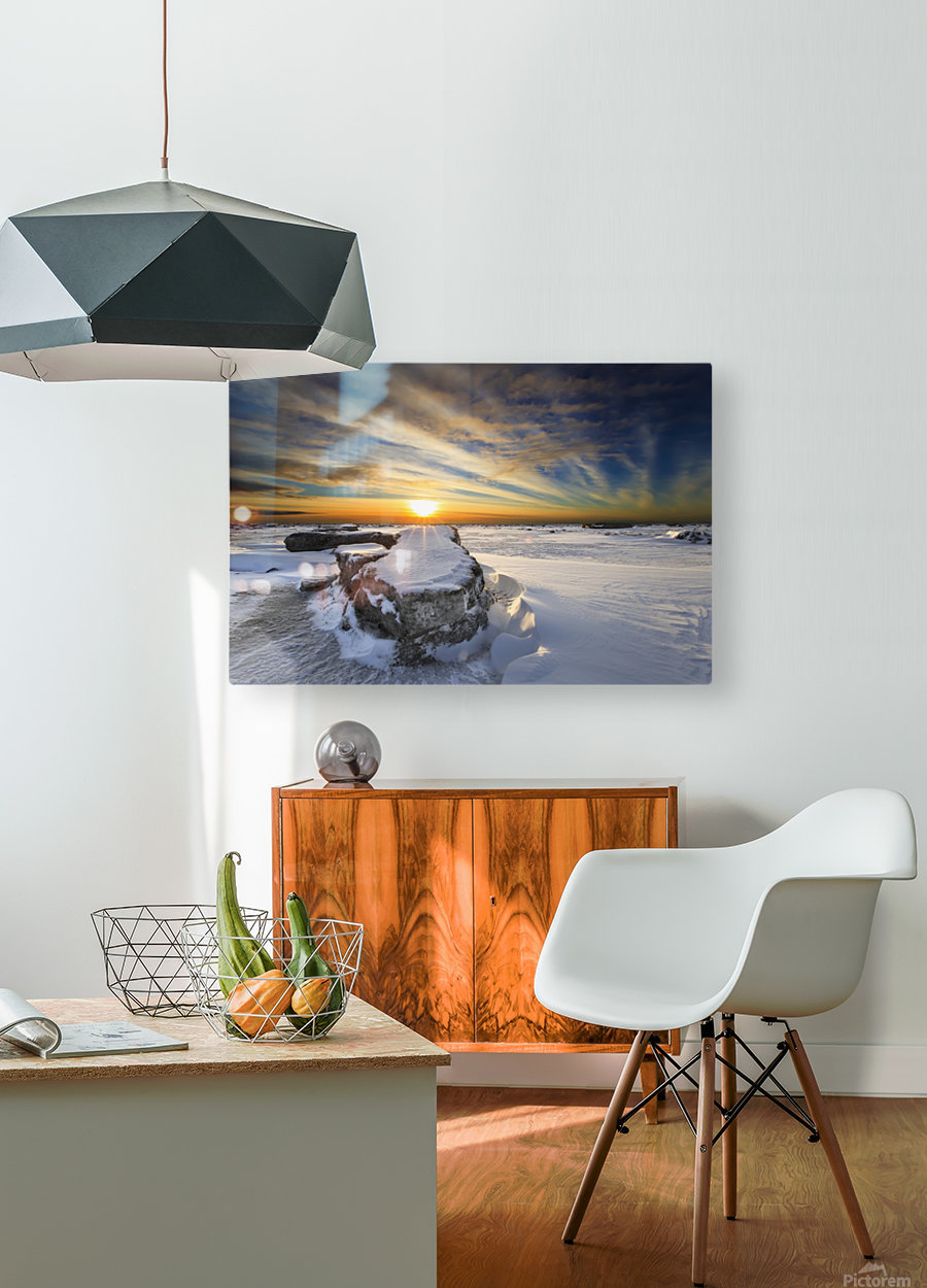 A large ice block on frozen Turnagain Arm at sunset; Anchorage, Alaska, United States of America  HD Metal print with Floating Frame on Back