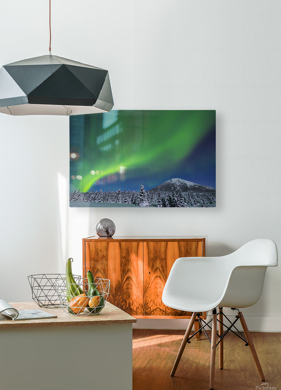The aurora glows in the sky above Donnelly Dome and a snowy, moonlit landscape, south of Delta Junction; Alaska, United States of America  HD Metal print with Floating Frame on Back