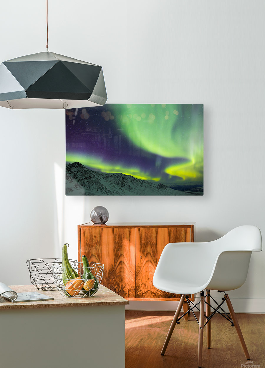Aurora borealis swirls over mountains within Denali National Park on a very cold winter night; Alaska, United States of America  HD Metal print with Floating Frame on Back