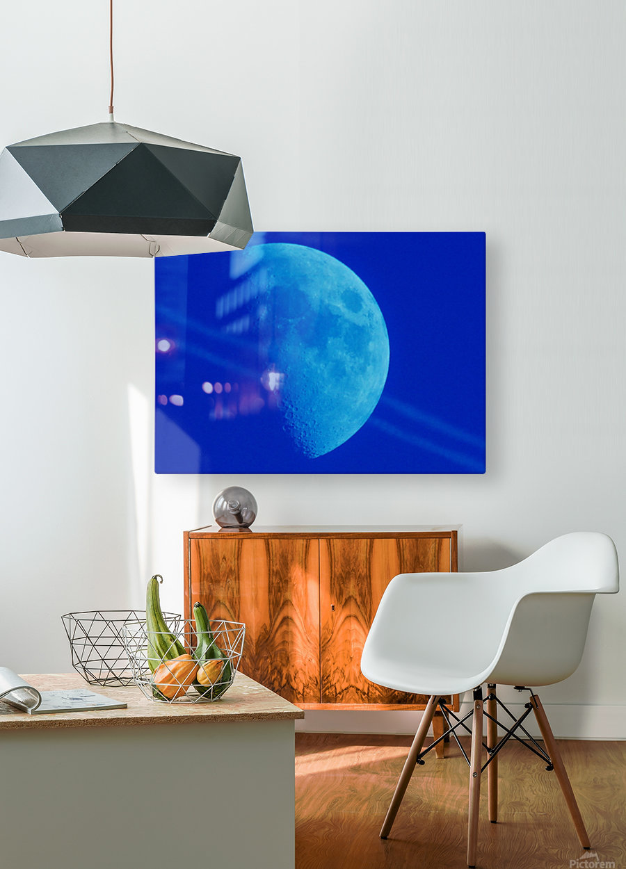 Blue moon  HD Metal print with Floating Frame on Back