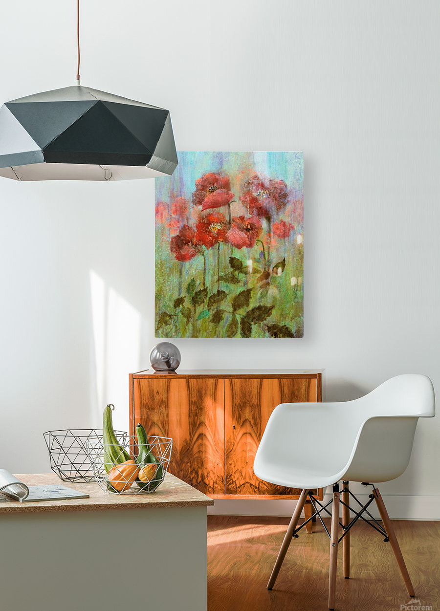 Poppies In Pastel Red  HD Metal print with Floating Frame on Back