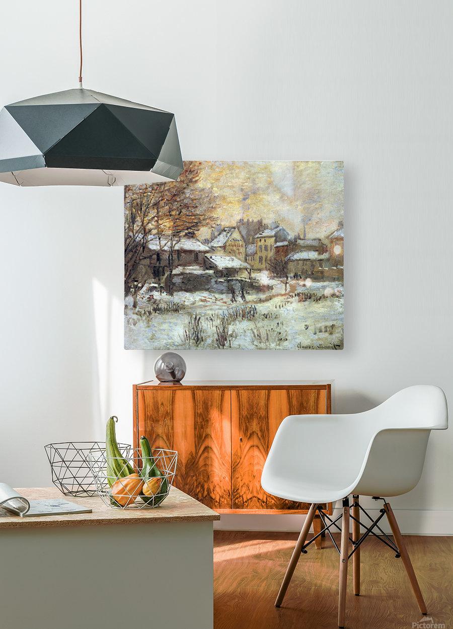 Snow at sunset, Argenteuil in the snow by Monet  Impression métal HD avec cadre flottant sur le dos