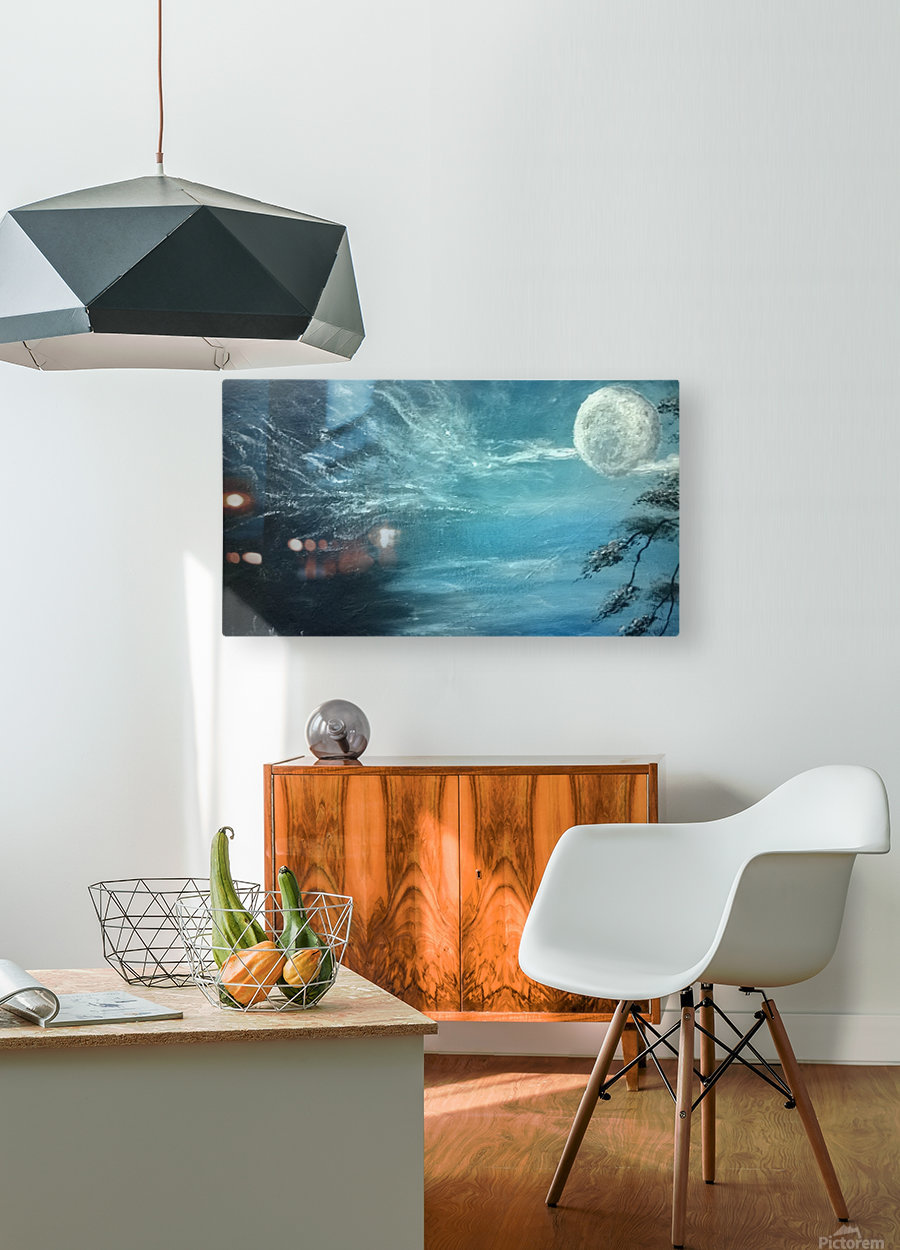 moon aura  HD Metal print with Floating Frame on Back