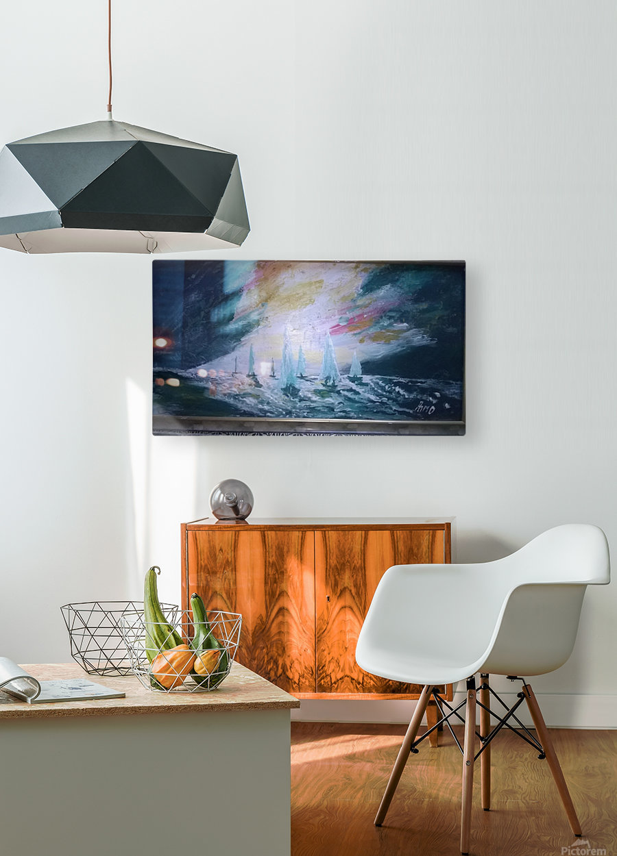 sail before storm  HD Metal print with Floating Frame on Back