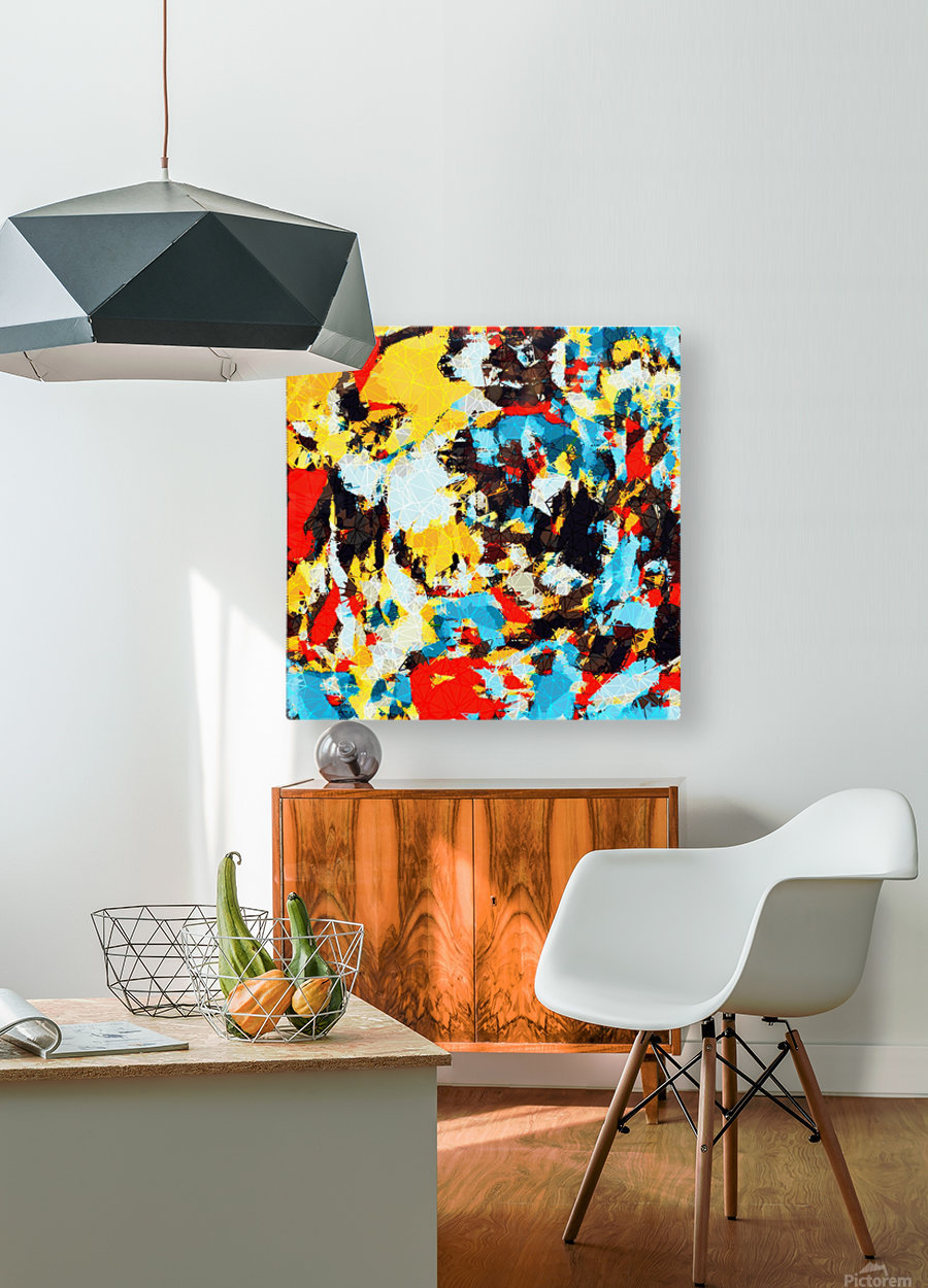 psychedelic geometric splash painting abstract pattern in yellow red blue brown  HD Metal print with Floating Frame on Back