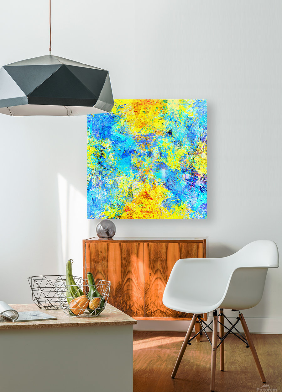 psychedelic geometric abstract pattern in yellow and blue  HD Metal print with Floating Frame on Back