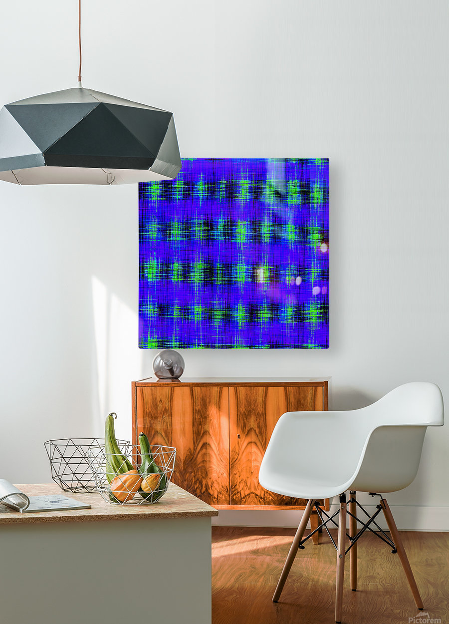 plaid pattern abstract texture in blue green black  HD Metal print with Floating Frame on Back
