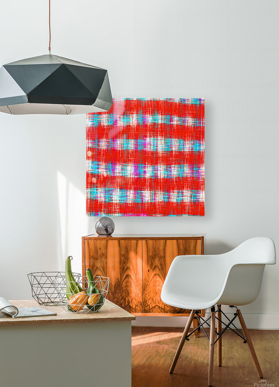 plaid pattern abstract texture in in red blue pink  HD Metal print with Floating Frame on Back