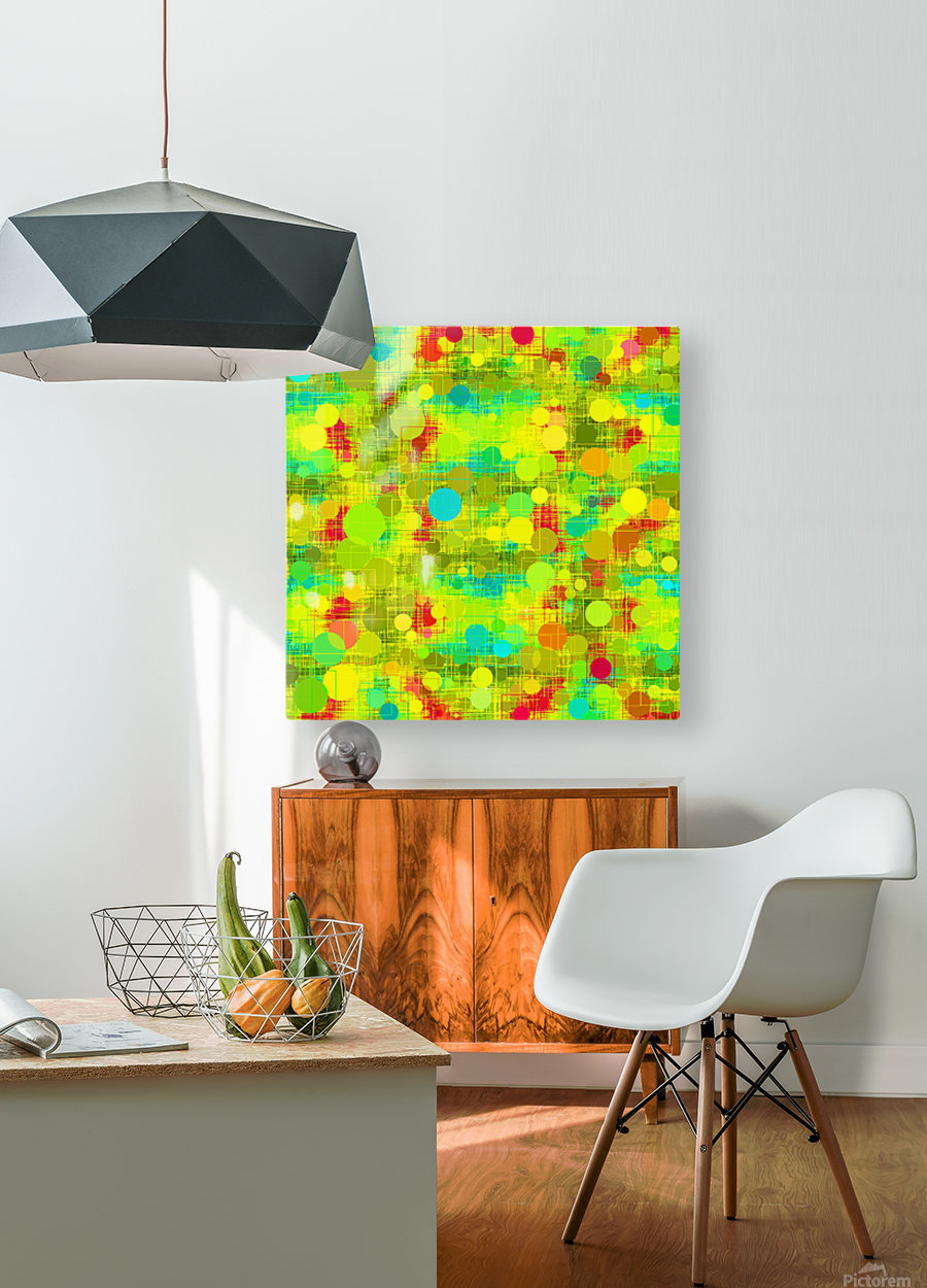 psychedelic geometric circle and square pattern abstract in yellow green blue red  HD Metal print with Floating Frame on Back
