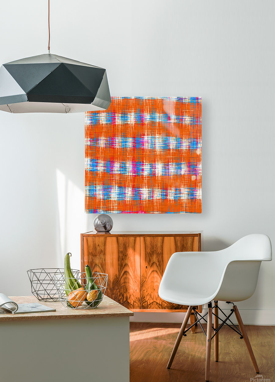plaid pattern abstract texture in orange blue pink  HD Metal print with Floating Frame on Back