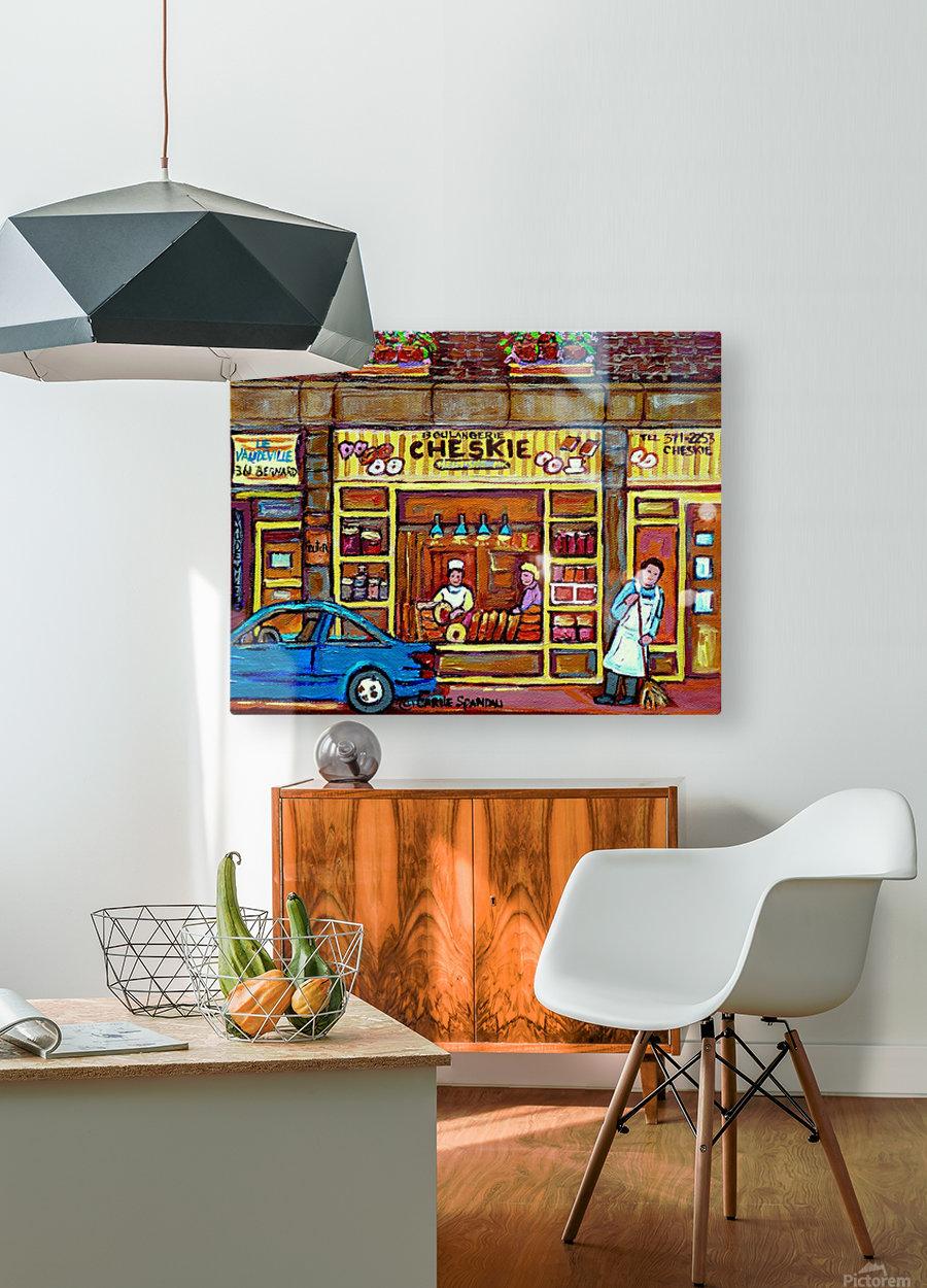 CHESKIES BAKERY RUE BERNARD MONTREAL STREET SCENE  HD Metal print with Floating Frame on Back