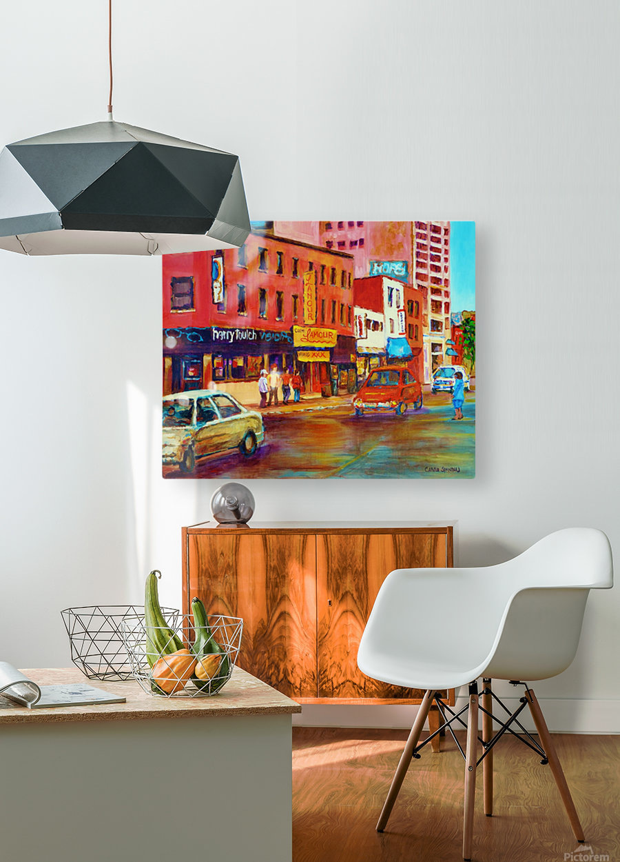 RUE ST LAURENT MONTREAL CINEMA LAMOUR  HD Metal print with Floating Frame on Back