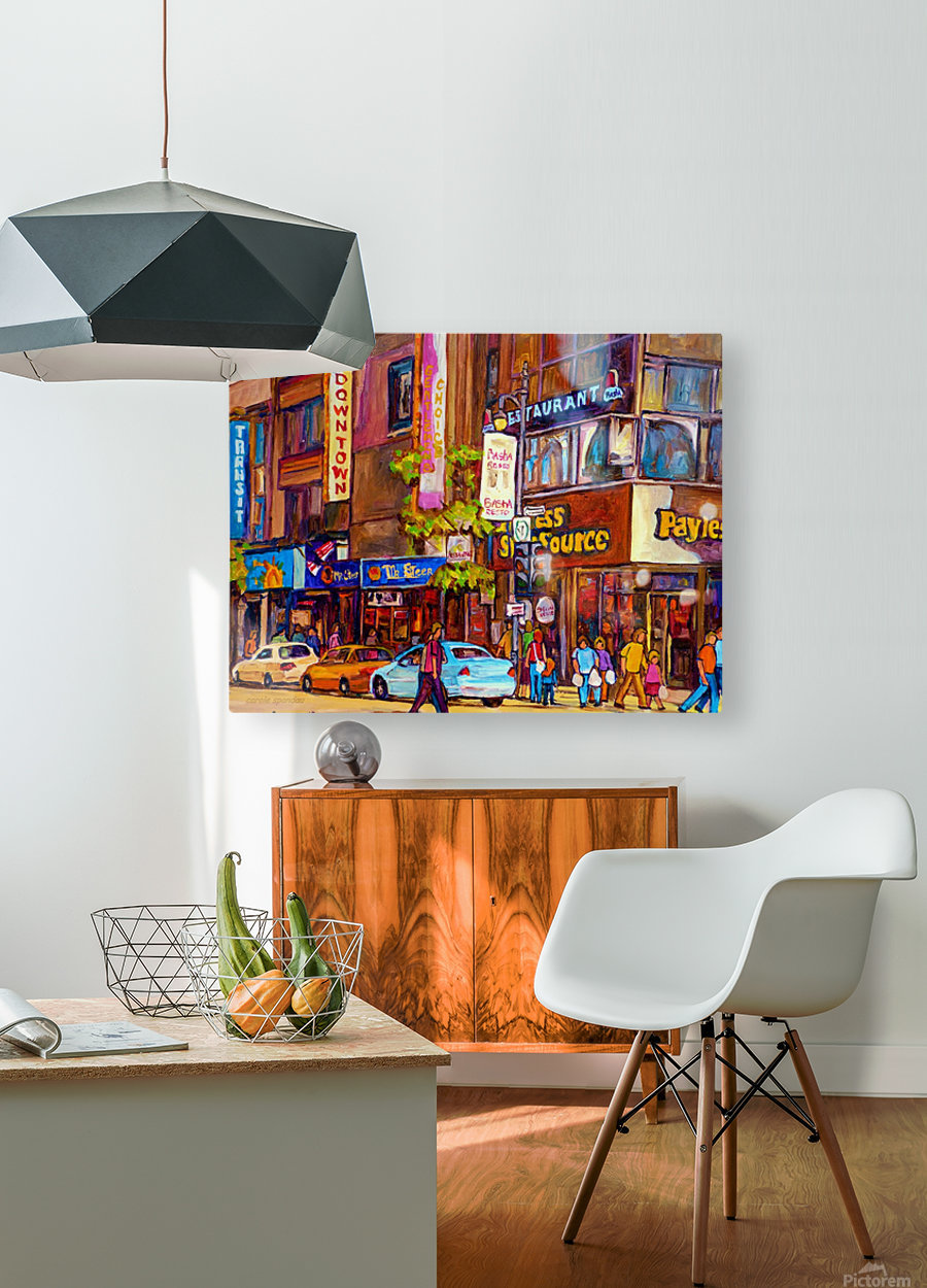 DOWNTOWN MONTREAL ST. CATHERINE WITH PAYLESS STORE  HD Metal print with Floating Frame on Back
