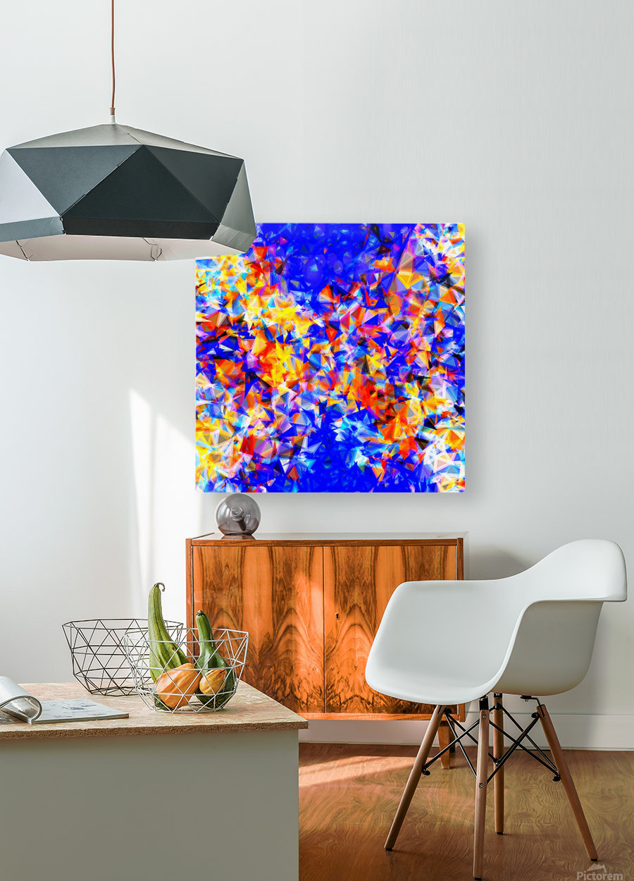 psychedelic geometric triangle abstract pattern in blue orange yellow  HD Metal print with Floating Frame on Back