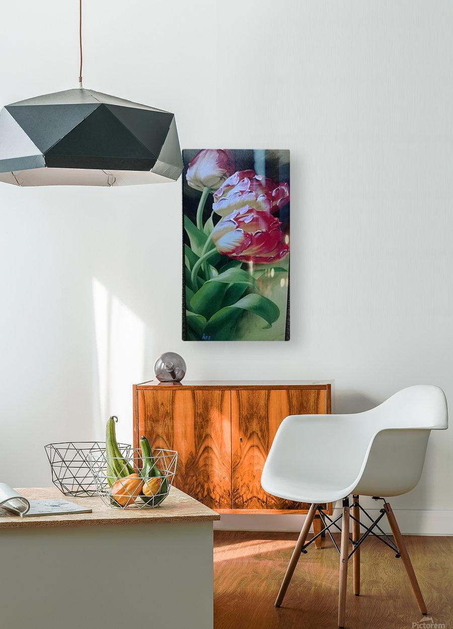 Red Love Flowers  Impression métal HD avec cadre flottant sur le dos