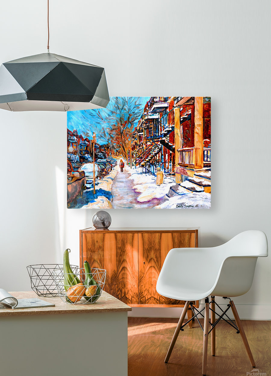 MONTREAL STREET IN WINTER  HD Metal print with Floating Frame on Back