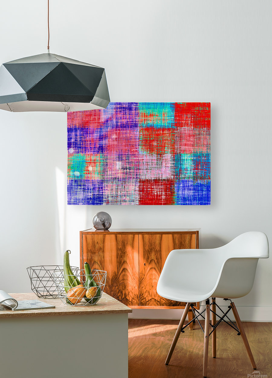 square plaid pattern texture abstract in red blue pink purple  HD Metal print with Floating Frame on Back