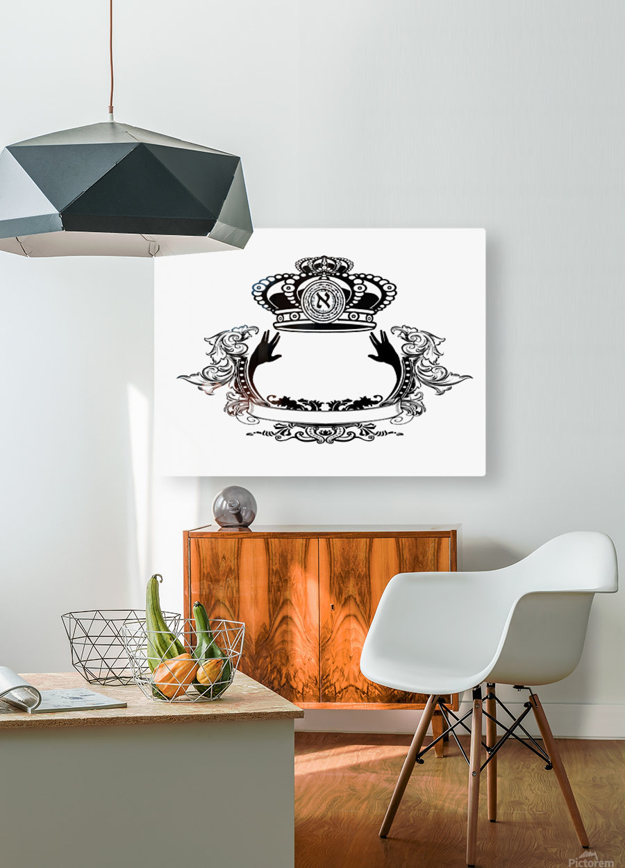 monogram crown  3  HD Metal print with Floating Frame on Back