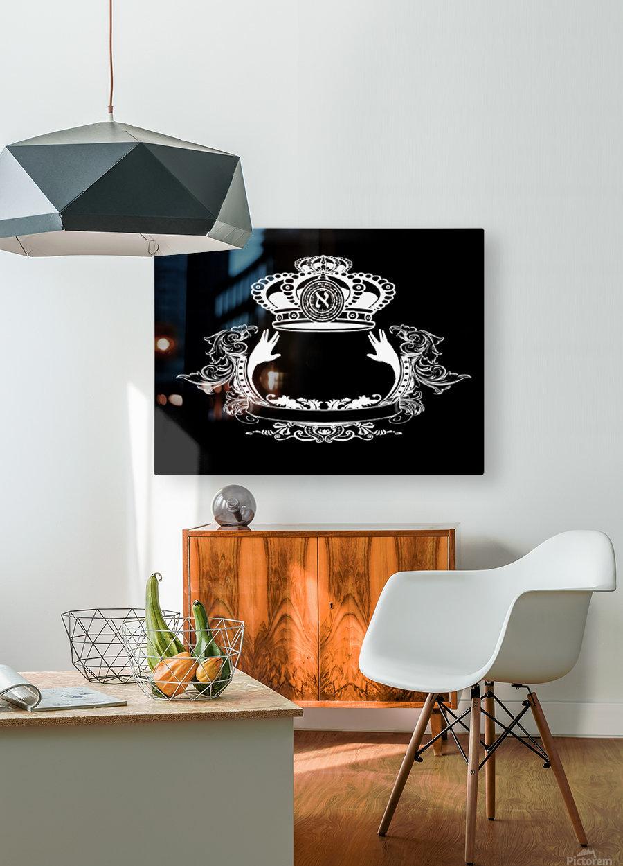 monogram crown  4 black  HD Metal print with Floating Frame on Back