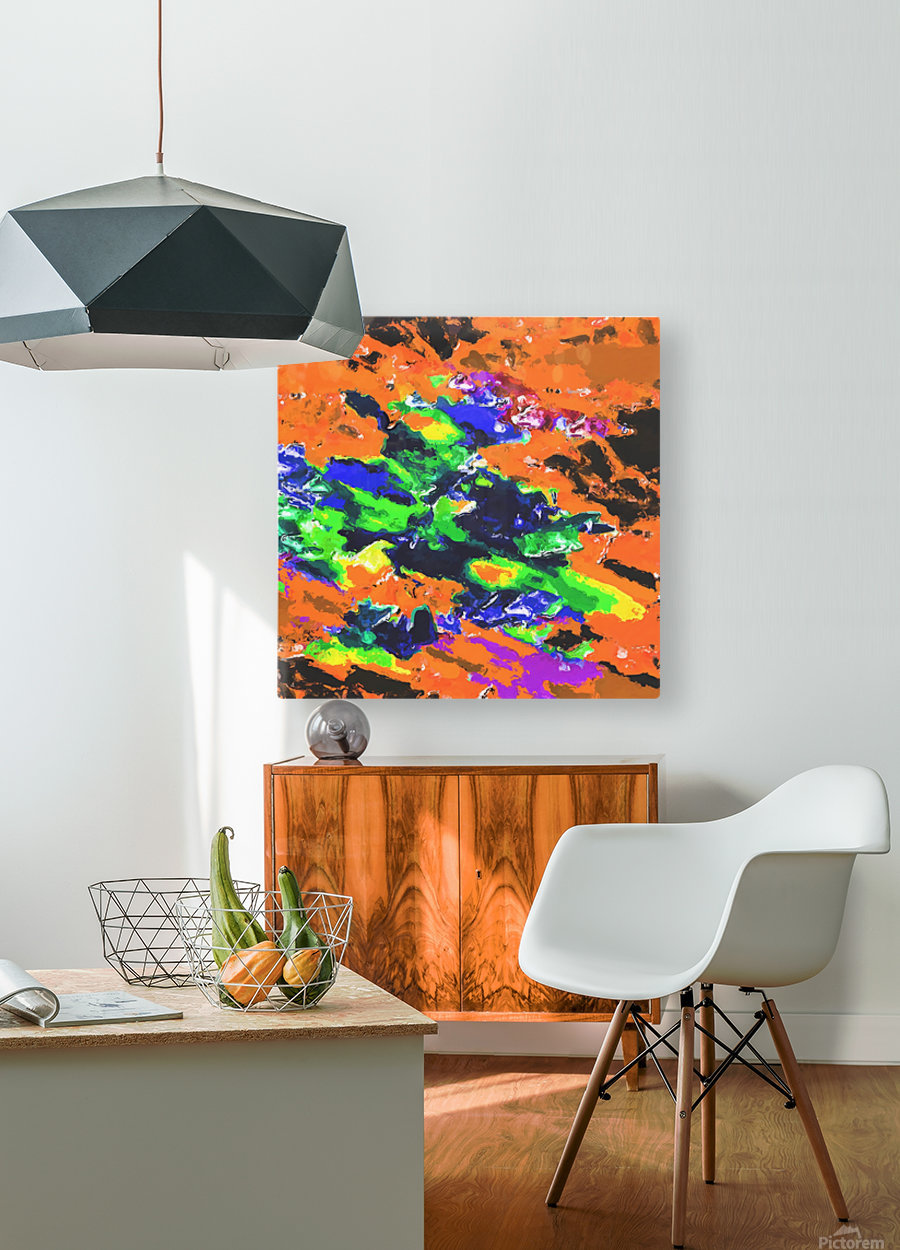 psychedelic splash painting abstract texture in brown green blue yellow pink  HD Metal print with Floating Frame on Back