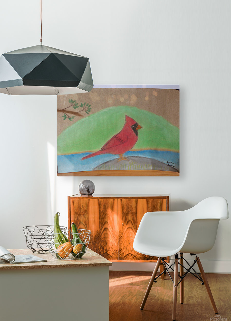 Red Cardinal   HD Metal print with Floating Frame on Back
