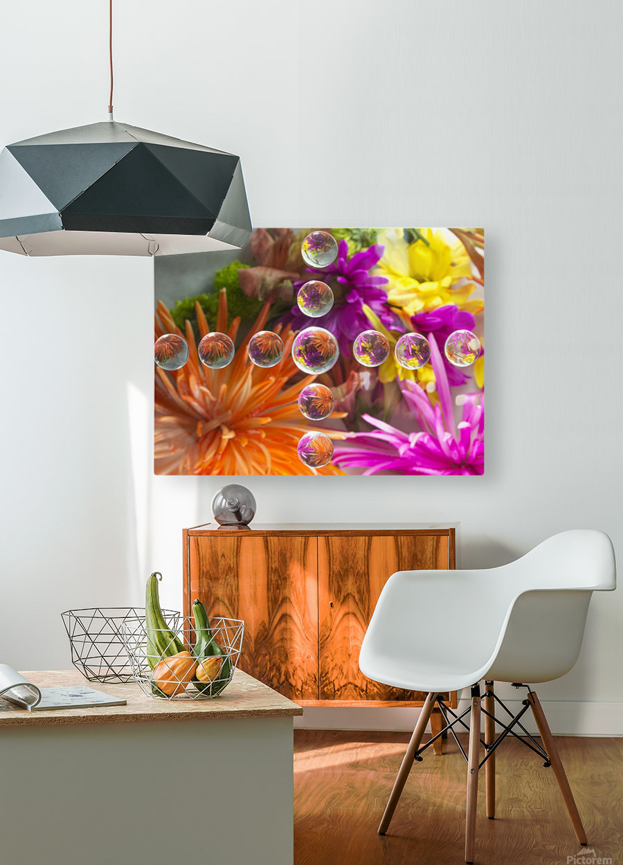 FLOWERS REFRACTION 16  HD Metal print with Floating Frame on Back