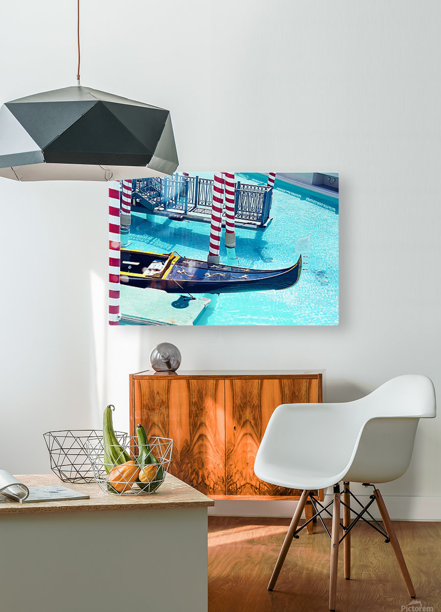 Classic Gondola boat and blue water  HD Metal print with Floating Frame on Back