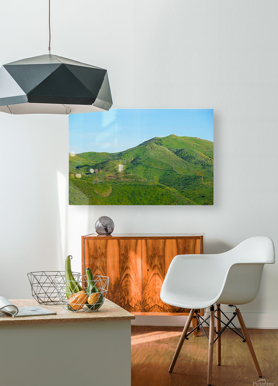 green field and green mountain with blue sky  HD Metal print with Floating Frame on Back