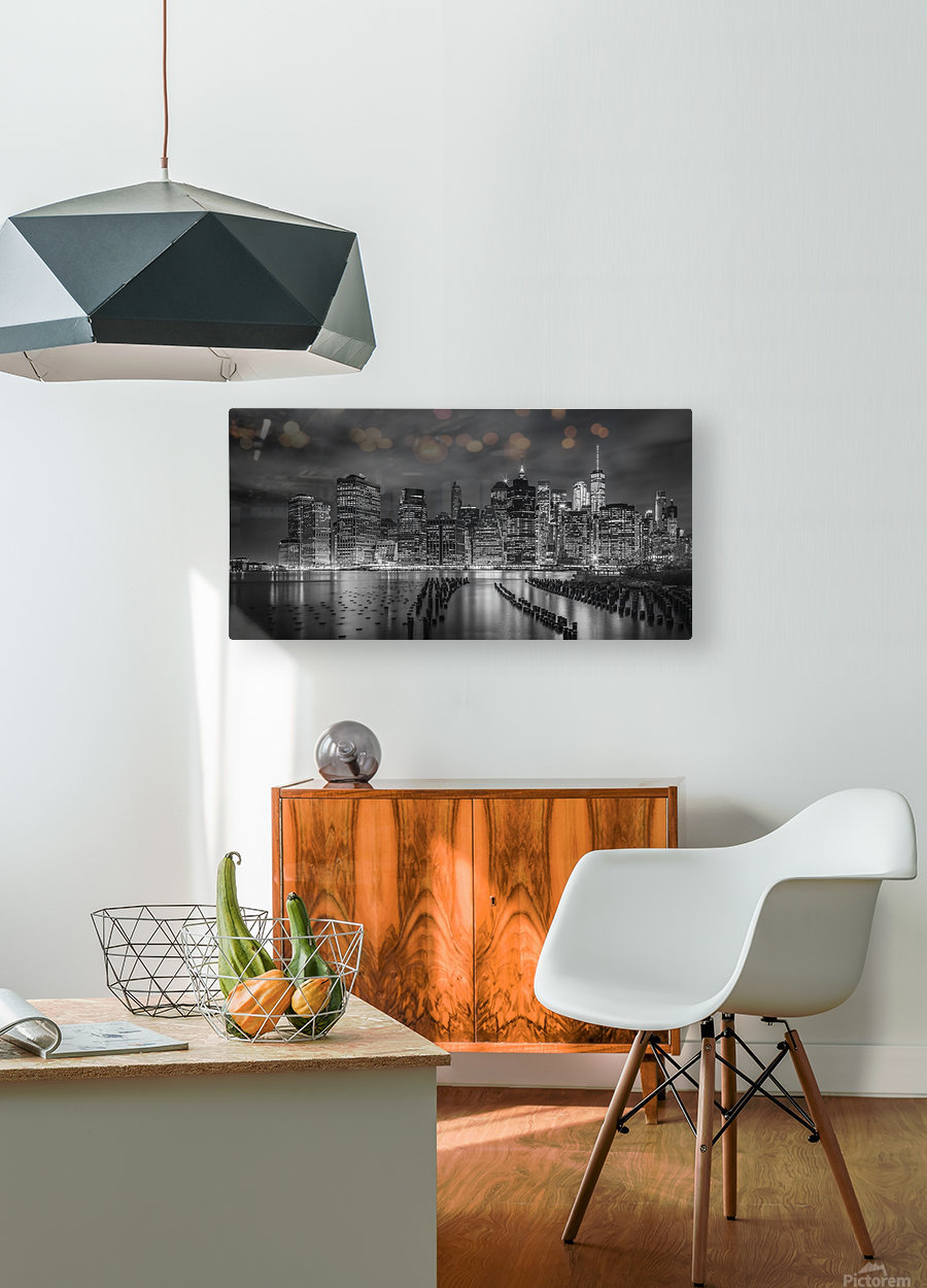 NEW YORK CITY Monochrome Night Impressions | Panoramic  HD Metal print with Floating Frame on Back