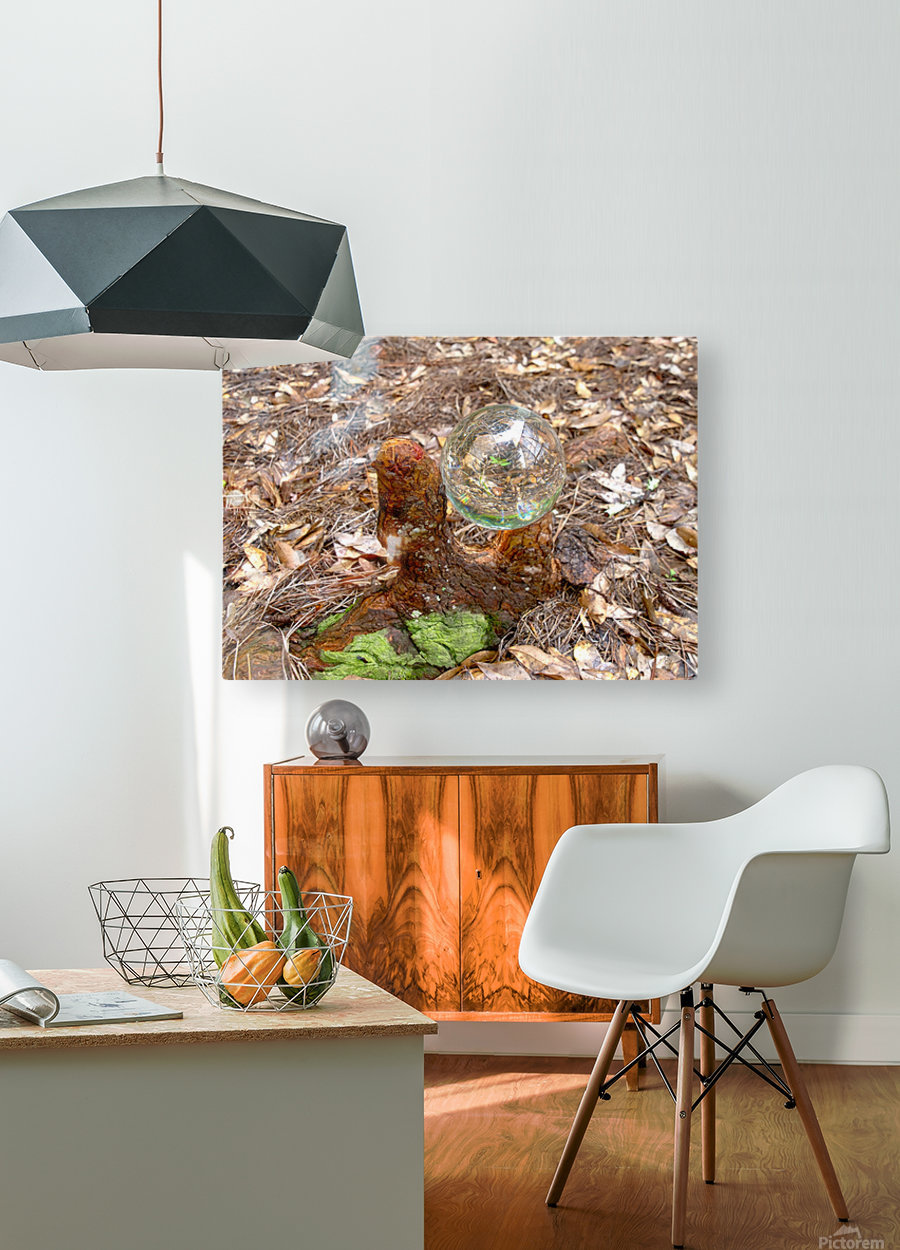 HDR CRYSTAL BALL IN A CYPREE KNEE FORK  HD Metal print with Floating Frame on Back