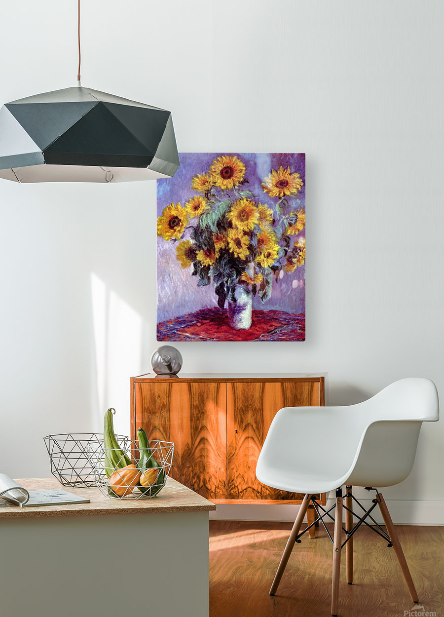 Still Life with Sunflowers by Monet  HD Metal print with Floating Frame on Back