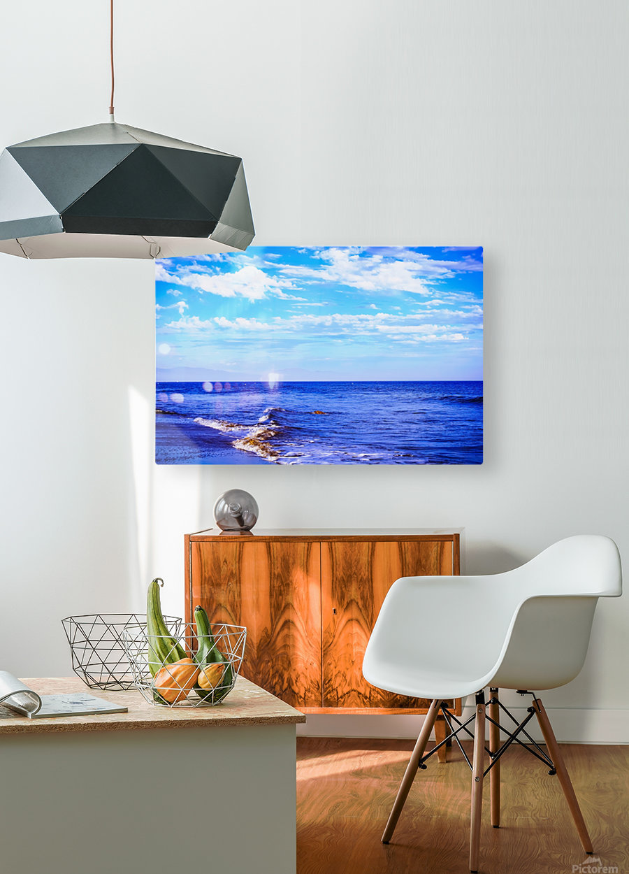 blue ocean view with blue cloudy sky in summer  HD Metal print with Floating Frame on Back
