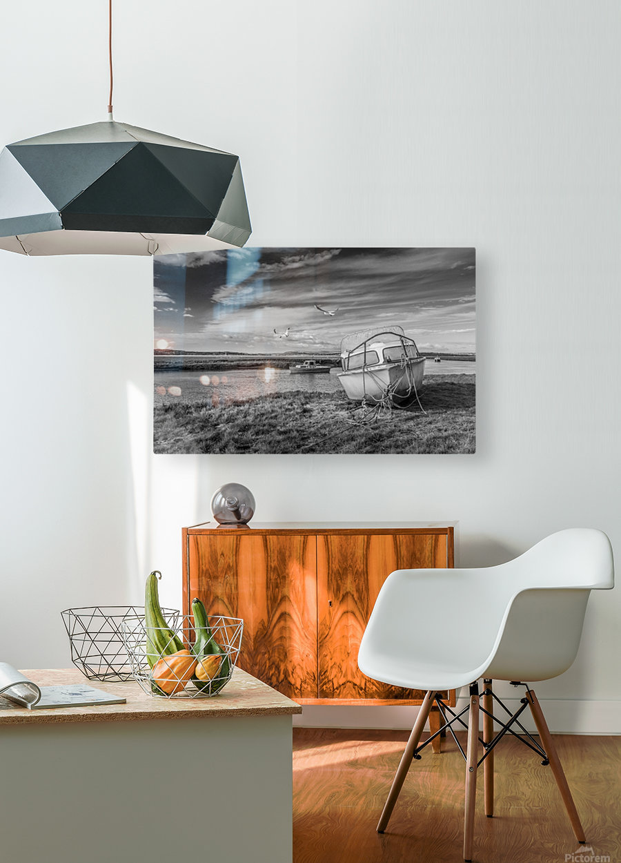 Loughor Estuary boats Wales  HD Metal print with Floating Frame on Back