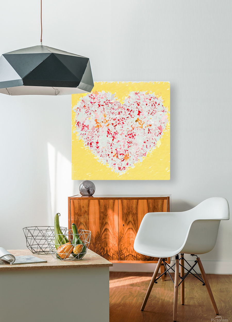 pink and red heart shape with yellow background  HD Metal print with Floating Frame on Back