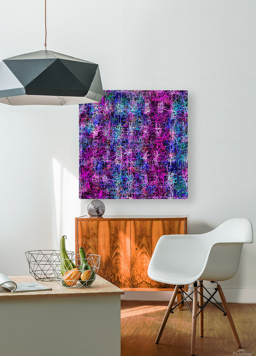 psychedelic abstract art pattern texture background in pink blue black  HD Metal print with Floating Frame on Back