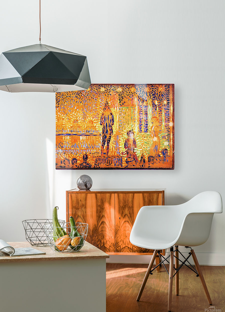 Study of the circus parade by Seurat  HD Metal print with Floating Frame on Back